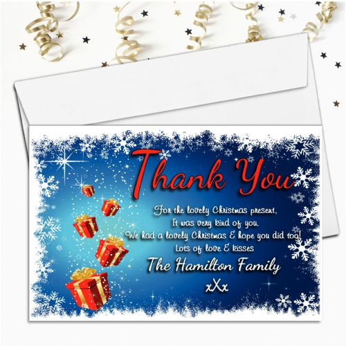 10 Personalised Christmas Xmas Thank you Cards N18
